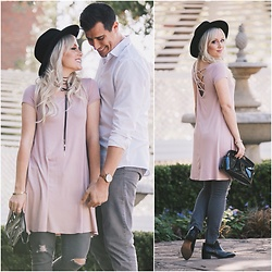 Kari Jane Ballesteros - Tillys Suede Necklace, H&M Black Hat, Styles For Less Blush Dress, Christian Dior Black Clutch, Clarks Black Booties, Cotton On White Button Up, Urban Outfitters Gray Slacks, Forever 21 Gray Jeans - Clarks Couple