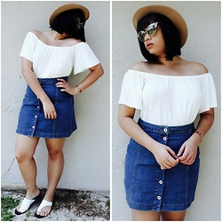 Chelsea Paulett - Urban Outfitters Off The Shoulder Top, Missguided Denim Skirt - Cold Shoulder