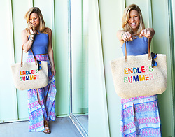 Katie Miller - Tj Maxx Endless Summer Beach Tote, Free Spirit Love Shop Printed Maxi Skirt With Slits, Ray Ban Clubmaster Sunglasses - Endless Summer Maxi Skirt