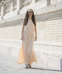 Festy In Style - Ivyrevel Dresses, Mango Shoes - Ivyrevel - Peach colored dress