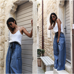 Storm West - Mango Top, Escada Palazzo - Hvar by day - Escada Palazzo Pants.