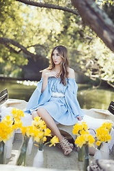 Alyssa Casares - Alyssa Nicole The Elle Dress, Steve Madden Lace Up Heels - On The Water