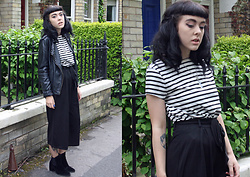 Jessica Gutteridge - Boohoo Thigh Length Culottes, Missguided Thick Stripped Dress, Primark Leather Stud Jacket - Walk with me through the garden gates