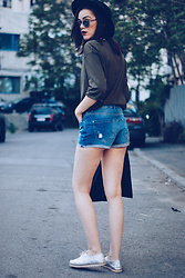 Andreea Birsan - Koton Black Hat, Zara Khaki Shirt, Mango Pinstripe Blazer, Silver Metallic Shoes, Denim International Shorts, Christian Dior So Real Sunglasses - Denim shorts weather II