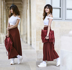 FromAmandaWithLove - Daisystreet Off Shoulder Halter Neck Crop Top In Rib, Zara Red Culotte Trousers, Zara Red Leather Bag, Reebok Classic White Retro Trainers - Sneakers is always better