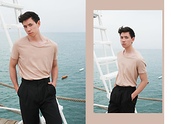 Frank Lin - American Vintage Nude Shirt, H&M Wide Pants - NUDE.