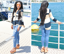 Chiara Culture With Coco - Zara Wide Stripe Top, Zara Ripped Distressed Jeans, Wearme Pro Mirror Dior So Real Inspired Sunglasses, Hilfiger Brown Wedges - Cannes Festivity