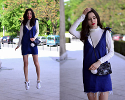 Native Gal - All Labels On My Blog - Denim dress + white turtleneck