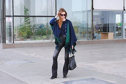 Yulia Sidorenko - Poncho Cape, Mango Jeans, Dressin Bag, Zara Shoes, Zara Sweater, Sinsay Sunglasses - Poncho cape and flare jeans