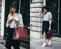 Bea G - Knit, Skirt, Bag, Hat, Sneakers - Midi Skirt & Stan Smiths