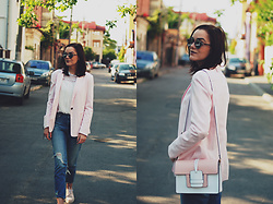 Andreea Birsan - Christian Dior So Real Sunglasses, Bershka Pink Blazer, Color Block Crossbody Bag, C&A White Ruffled Top, H&M Distressed Boyfriend Jeans, Pink Oxford Shoes - The pink blazer outfit II