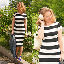 Federova Kik - Sheinside Black White Striped Dress, Bonprix Sandals, Amiclubwear Mini Backpack - Black White Striped Dress