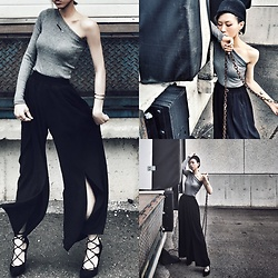 Dva Lau - H&M Asymmetric Off Shoulder Top, Wukong Split Wide Leg Trousers, Jeffrey Campbell Shoes Lace Heels, Calvin Klein Silver Bracelet, Fauxrealnyc Pocky Necklace - Drown your little dream