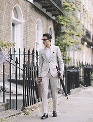 Mike Quyen - Topman Suit, Saint Laurent Glasses, River Island Loafers - Streets of Islington