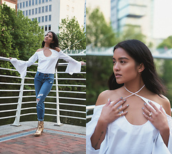 Carissa Alvarado - Maurie & Eve Bell Sleeve Open Neck Top, Pacsun Boyfriend Jeans - Memorial Day White