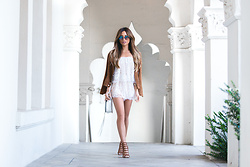 Jessi Malay - Lovers + Friends Kristine Romper, Cotton On Sara Suedette Biker Jacket, Rebecca Minkoff Mara Saddlebag, Schutz Jaden Heels In Brown Saddle, Dita Freebird Frames - Memorial Day Whites | Lovers + Friends Kristine Romper