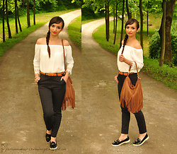 Natalia Uliasz - New Dress Blouse With Bare Shoulders, Mohito Pants Polka Dot, H&M Bag With Tassels, Deez24.Pl Loafers - Mix of styles