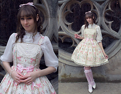 Chieko Chiekorita - Angelic Pretty Sweetie Chandelier Jsk, Angelic Pretty Pink Otks, Angelic Pretty Dolly Lacy Stand Up Collar Blouse - Fancy chandelier