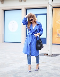 A TRENDY LIFE - La Redoute Trench, Oysho Blusa, Blanco Jeans, La Redoute Bolso, Italia Independent Gafas De Sol, La Redoute Zapatos - Trench y boyfriend jeans