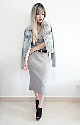 Thais Chung - Forever 21 Jeans Jacket, Renner Midi Dress, Asos Peep Toe Boots - MIDI