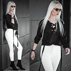 Oksana Orehhova - Gjg Denim Skinny Jeans, Ralph Lauren Sunglasses, The:5th Watch, Public Desire Boots - BLACK AND WHITE SATURDAY