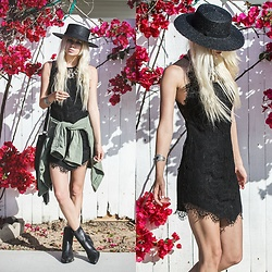 Sarah Loven - Free People Black Lace Dress, Jada And Jon Army Jacket, 66 The Label Black Flat Brim Straw Hat, Matisse Black Snakeskin Ankle Booties, Hazel & Folk Silver Cuff - Bougainvillea