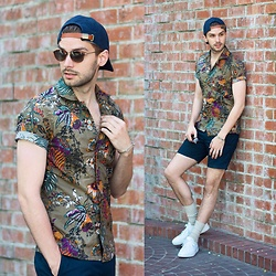 Aaron Wester - J. Crew Floral Shirt, Club Monaco Shorts, Common Projects Sneakers - Retro