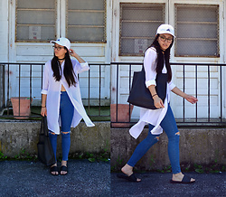 Sheila - Dresslink White Blouse, Topshop High Waist Jeans, Adidas White Baseball Hat - White Baseball Hat