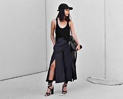 Karla P - Akira Pin Stripe Culottes, Public Desire Vera Lace Up Heels, Necessary Clothing Black Cap - Pnstrps