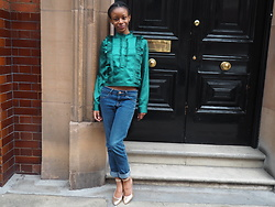 Krystal Frenche-Davies - H&M Emerald Shirt, Zara Gold Heels - Green with envy