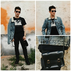 Carlos J - Zara Denim Jacket, Springfield T Shirt, Dr. Martens Bag, Dr. Martens Boots, Fila Sunglasses - ALONE TOGETHER.