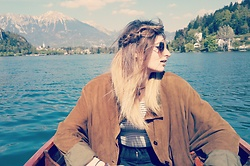 Maria G - Vintage Suede Bomber, Topshop Striped Crop Top, Topshop Black Jamie Jeans, Asos Heart Shaped Sunglasses - Lake Bled
