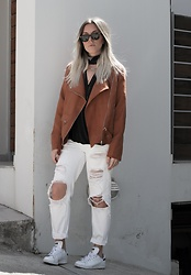 Dena T. - Sheinside Camel Jacket, Urban Outfitters Black Bandana Scarf, Adidas Sneakers - CAMEL BIKER JACKET AND WHITE JEANS