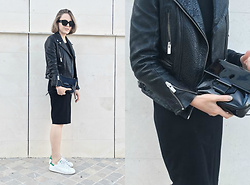 Trini Gonzalez - Balenciaga, The Kooples Leather Jacket, Reed Krakoff Bag, Gap Dress, Adidas Sneakers - Black dress white sneakers