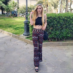 Isobel Thomas - Tkmaxx Boho Flares, Cn Direct Black Tie Around Top, Primark Bucket Bag - Bohemian Black