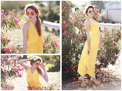 Rose Pendleton - Jcpenney's Yellow Dress, Rogue Daisies Orange Heels, Forever 21 Daisies Headband, Rogue Daisies Orange Aviators, Claires Diamond Earrings - Floral Sunset