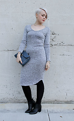 Sarah H - Love In Dress, Report Boots, Marc Jacobs Purse - Grey Knit Midi Dress