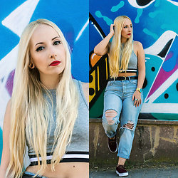 Valeria S. - New Look Crop Top, Topshop Jeans, Vans Shoes - Graffiti