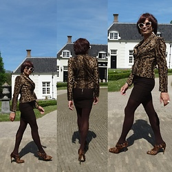 Francesca Di Parma - Anna Blazer, Corel Amsterdam Skirt, Wolford Tights, L.K. Bennett Heels, Wolford String Bodysuit, Prada Sunnies - Animal prints never go out of style