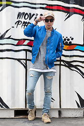 PJ Chen - Triple 5 Soul Cap, Trity Sunglasses, Eleven Paris Tee, Eleven Paris Ma1 Jackets, Silver Necklace, Eleven Paris Damaged Skinny Jeans, Leather Wristband, Dada Sneakers - ELEVEN PARIS