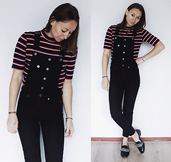Magna G. - H&M Striped Top, H&M Black Denim Dungarees, Zara Leather Embellished Loafers - Black denim dungarees