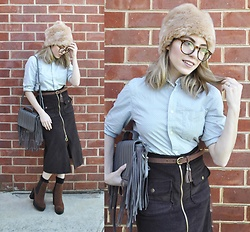 Apollinaria J - Sportsgirl Faux Fur Hat, Asos Clear Lens Glasses, H&M Shirt In Texture, Glamorous Faux Suede Belt With Tassels, Asos Front Zip Midi Velvet Textured Skirt, Beefree Fringed Purse, Cotton On Heeled Boots - Australian Winter