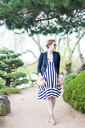 Ashley Hutchinson - Chloe Gold Crossbody Bag, Navy Striped Dress, Forever 21 Lace Up Wedges, Ray Ban Gold Aviators, Smythe Navy Duchess Blazer - Stripes in the Japanese Garden