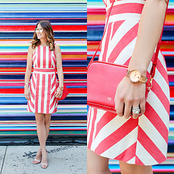 Jenn Lake - Milly Maya Red Stripe Dress, Vasic Collection Any Way Red Cross Body Bag, Movado Edge Watch In Rose Gold, Quay Cherry Bomb Sunglasses, Steve Madden Carrson Sandals Nude Patent - Red and White Stripe Dress