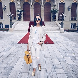 Andreea Birsan - Aldo Gold Metallic Mules, Mango White Distressed Cropped Flared Jeans, Hermès Kelly Bag, Mango Cream Blazer, Flirty Tshirt, Christian Dior So Real Sunglasses - How to make a 5$ tshirt look expensive