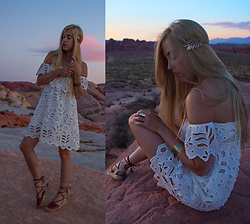 Jordan Rose - Haute Rogue White Off The Shoulder Dress, Hollister Gold Ring, Hollister Gold Cuff, Wren + Glory Leaf Halo, Soludos Platform Sandals - // desert princess //