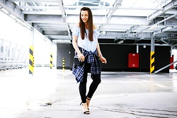 Asia M. - Off Shoulder Top, Flannel Plaid Shirt, High Heeled Classic Sandals - Flanner shirt with off shoulder top