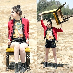 Lexi L - Mr. Gugu & Miss Go Kiss Shirt, Insight Red Jacket, Embellished High Rise Shorts, Thrifted Black Leather Ankle Boots - The Golden Age