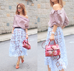 Mayo Wo - Front Row Shop Off Shoulder Top, Self Portrait Lace Skirt, Gucci Floral Bag - Off is on