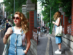 Solveig - Bershka Pinafore Dress, Brandy Melville Usa Crop Top, Bershka Sneakers - HONGDAE